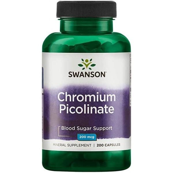 Хром піколінат, Chromium Picolinate, Swanson, 200 мкг, 200 капсул