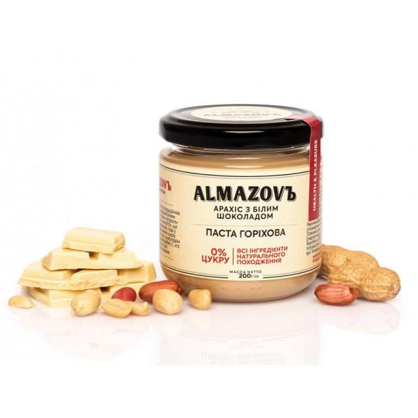 Паста горіхова арахіс з білим шоколадом 200 г Almazovъ