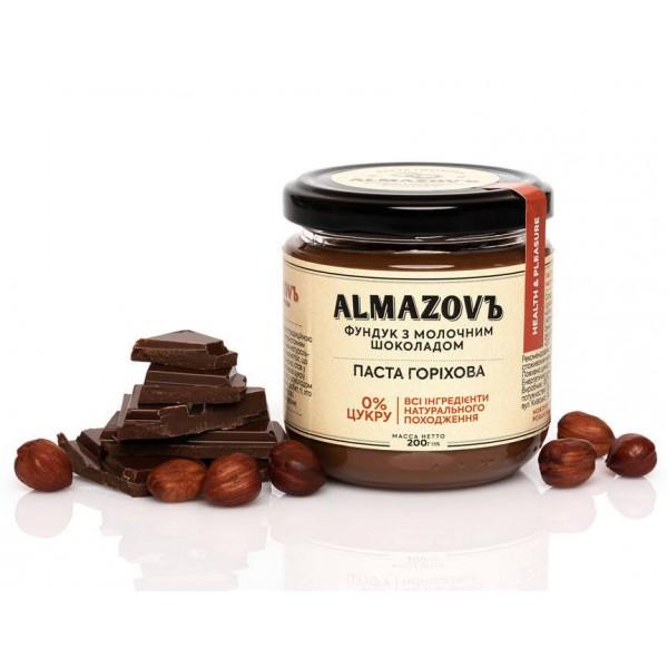 Паста горіхова фундук з молочним шоколадом 200 г Almazovъ