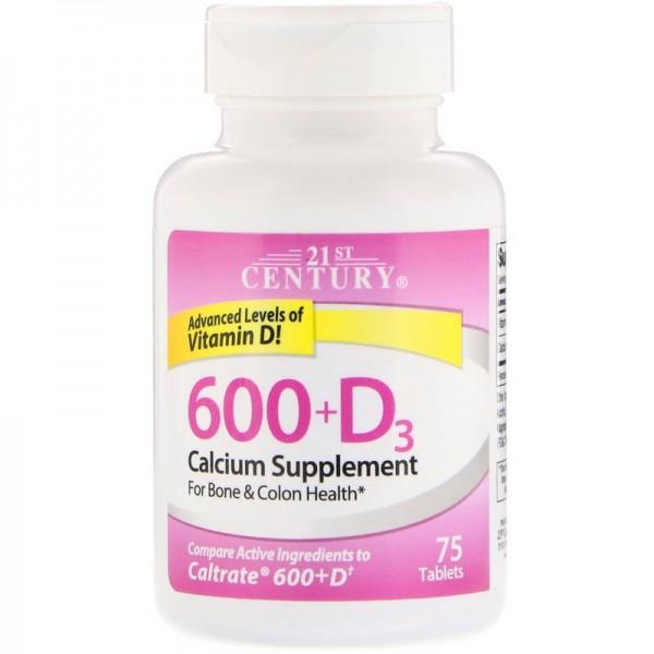 Кальцій 600 мг + вітамін D3 (600+D3 Calcium Supplement), 21st Century - США