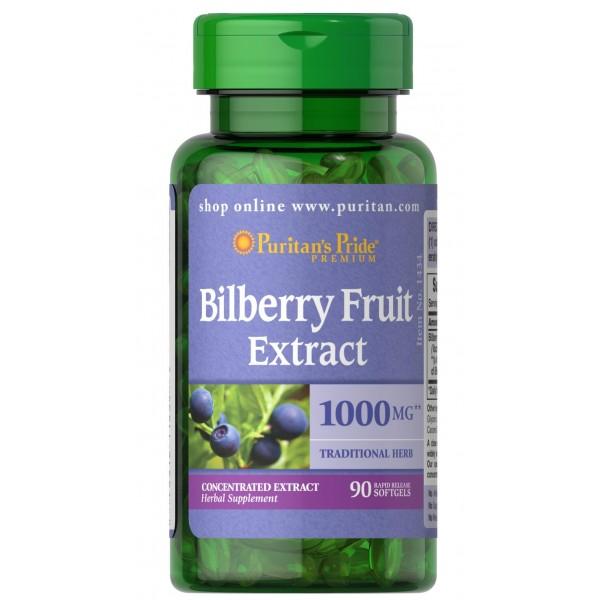 Екстракт чорниці 4:1 1000 мг (Bilberry Extract), Puritan's Pride - США
