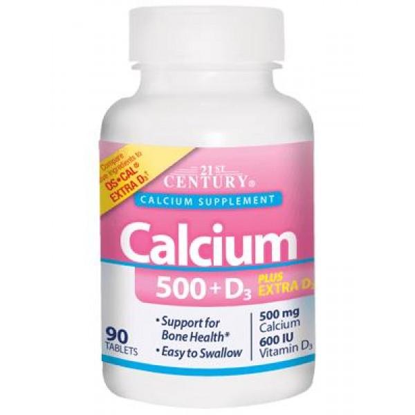 Кальцій 500 мг + вітамін D3 (Calcium 500 + D3), 21st Century - США