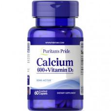 Карбонат кальцію 600 мг + вітамін D (Calcium Carbonate + Vitamine D) , Puritan's Pride - США