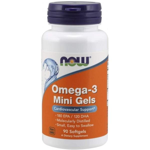 Омега-3 500мг (Omega-3 Mini Gels), Now - США