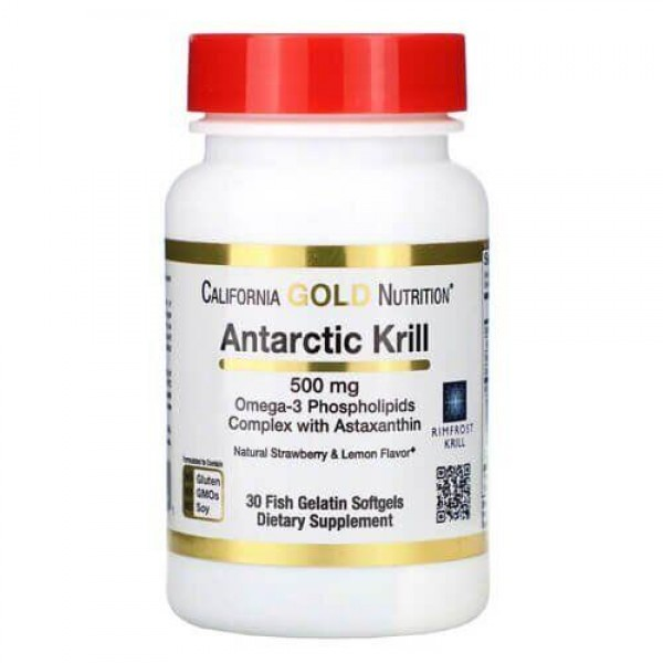 Омега-3 Масло антарктичного криля 500мг (Antarctic Krill Oil, with Astaxanthin), California Gold Nutrition- США