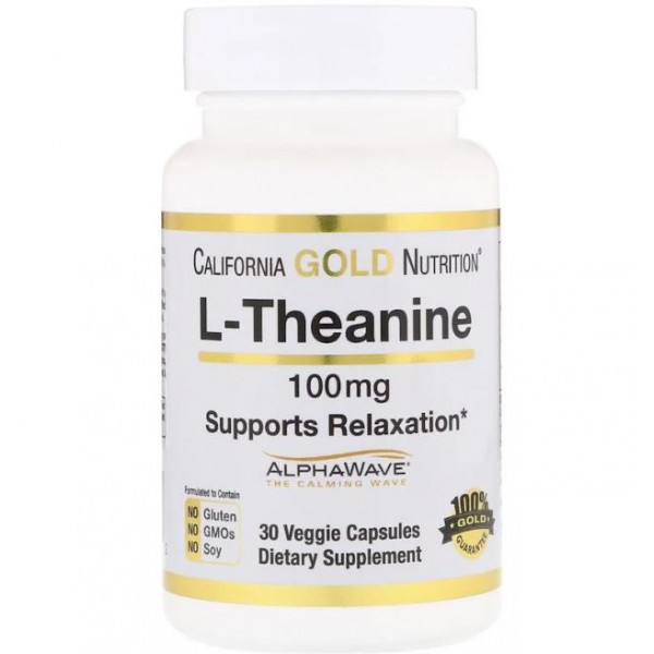 Теанін амінокислота (L-Theanine, 100 мг), California Gold Nutrition- США