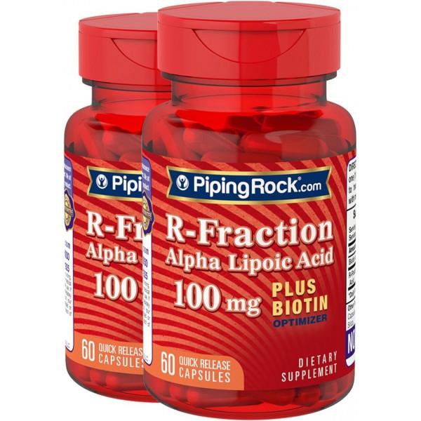 Альфа-ліпоєва кислота + біотин 100мг (R-Fraction Alpha Lipoic Acid plus Biotin Optimize), Piping Rock - США