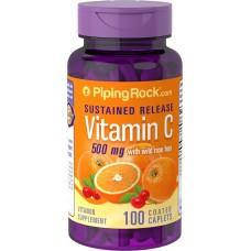 Вітамін С з шипшиною 500 мг (Vitamin C), Piping Rock - США