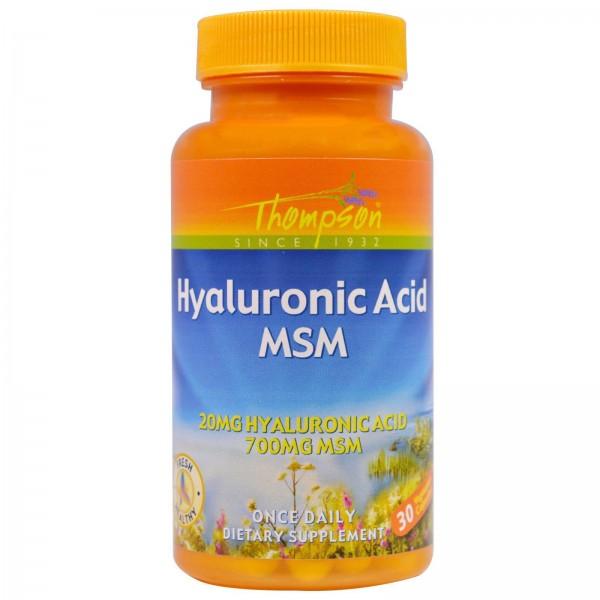 Гіалуронова кислота + МСМ (Hyaluronic Acid - MSM), Thompson - США