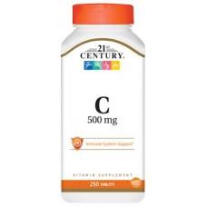 Вітамін С, C-500, 21st Century, 500 мг, 250 таблеток