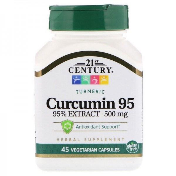 Куркумін 95, 500 мг, 21st Century, 45 капсул