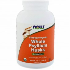 Подорожник органічний, Certifed Organic Whole Psyllium Husks, Now Foods, 340