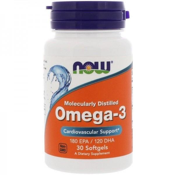 Омега-3 риб'ячий жир, Omega-3, Now Foods, молекулярно дистильований, 30 капсул
