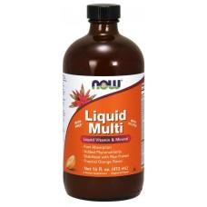 Мультивітаміни, Liquid Multi, Now Foods, апельсин, 473 мл