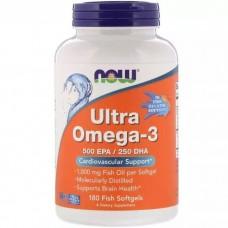 Ультра Омега 3, Ultra Omega 500 EPA / 250 DHA, Now Foods, 180 гелевих капсул