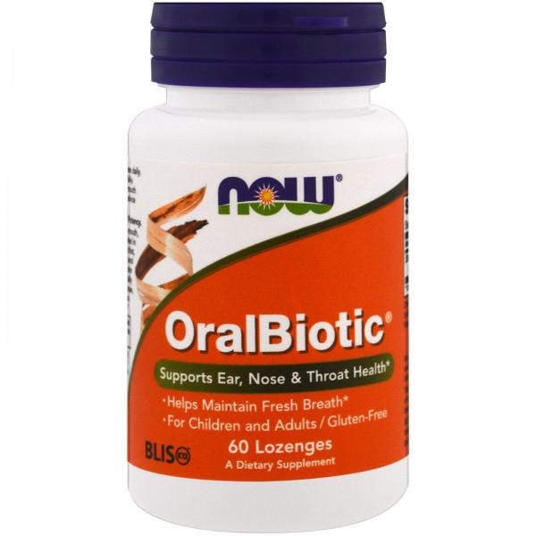 Пробіотики (репетував), OralBiotic, Now Foods, 60 таблеток для розсмоктування