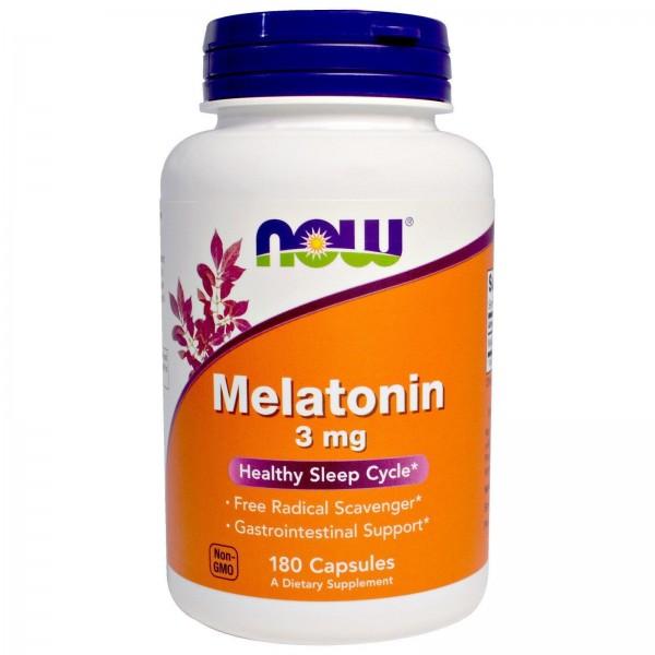 Мелатонін, Melatonin, Now Foods, 3 мг, 180 капсул