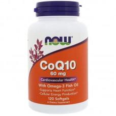 Коензим Q10 з риб'ячим жиром, CoQ10, Now Foods, 60 мг 120 капсул