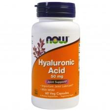 Гіалуронова кислота і МСМ, Hyaluronic Acid, Now Foods, 50 мг, 60 капсул
