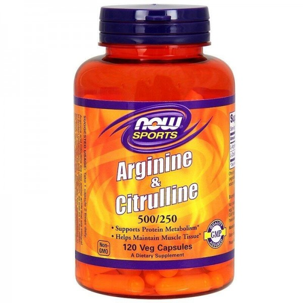Амінокислоти, протеїн і цитрулін, Arginine & Citrulline, Now Foods, Sports, 500/250, 120 капсул
