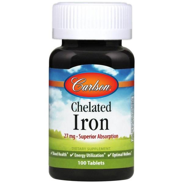 Хелат заліза, Chelated Iron, Carlson Labs, 27 мг, 100 таблеток