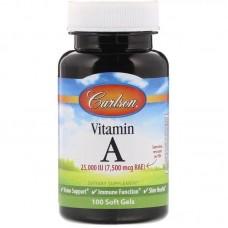 Вітамін А, Vitamin A, Carlson Labs, 25 000 МО, 100 гелевих капсул