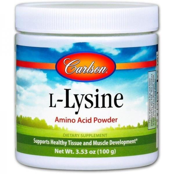 Лізин, L-Lysine, Carlson Labs, 100 грам