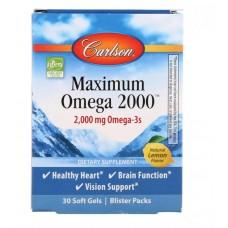 Омега з натуральним смаком лимона, Maximum Omega 2000, Carlson Labs, 2000 мг, 30 гелевих капсул