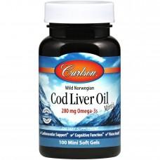 Норвезька риб'ячий жир, Cod Liver Oil, Carlson Labs, 100 міні гелевих капсул