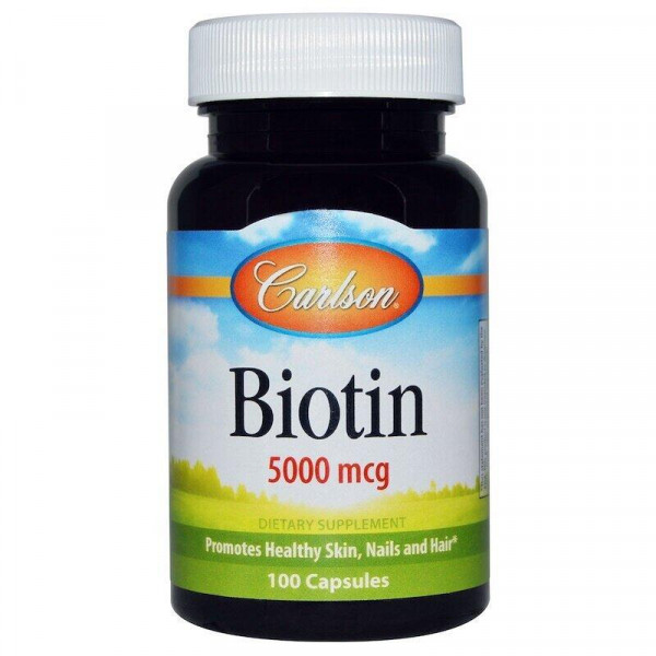 Біотин, Biotin, Carlson Labs, 5000 мкг, 100 капсул
