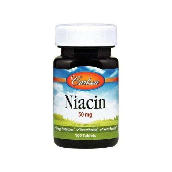 Ніацин (Вітамін В3), Niacin, Carlson Labs, 50 мг, 100 таблеток