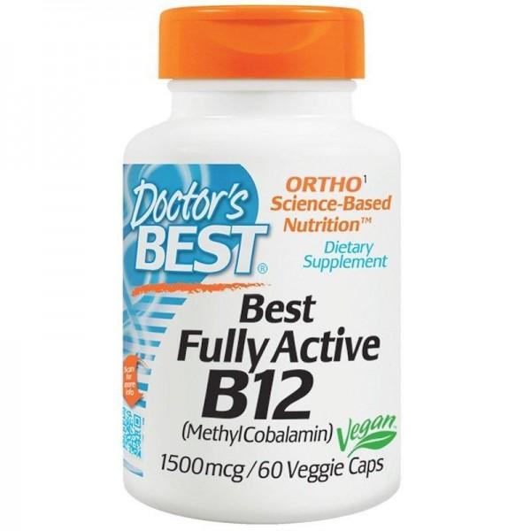 Вітамін В12 (метилкобаламін), Active B12, Doctor's Best, активний, 1500 мкг, 60 капсул