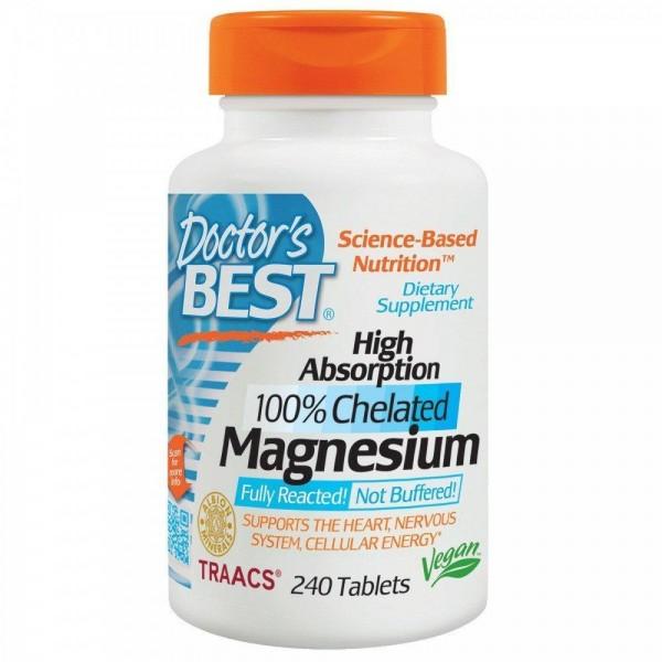 Магній хелат 100%, Magnesium, Doctor's Best, абсорбційний, 100 мг, 240 таблеток
