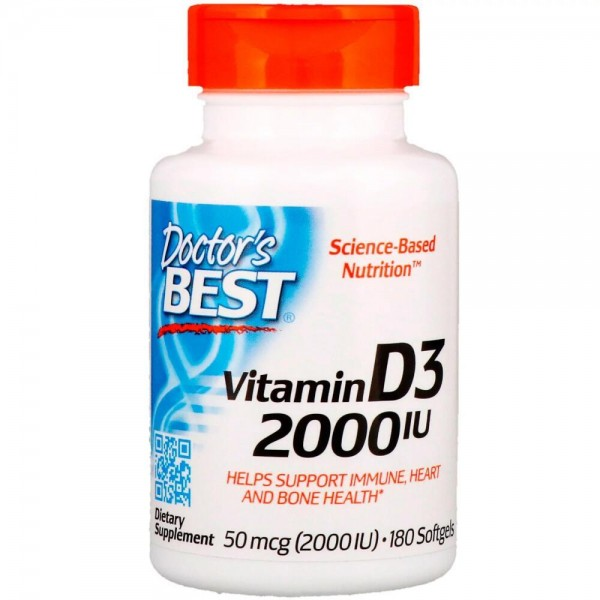 Вітамін Д3, Vitamin D3, Doctor's Best, 2000 МО, 180 капсул
