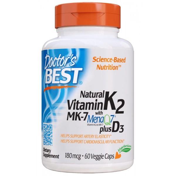 Натуральний вітамін K2 MK-7 з MenaQ7 і вітаміном Д3, Natural Vitamin K2 MK-7 with MenaQ7 plus Vitamin D3, 180 мкг, Doctor's Best, 60 капсул