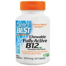 Вітамін В12 (метилкобаламін), Active B12, Doctor's Best, м'ята, 1000 мкг, 60 таблеток