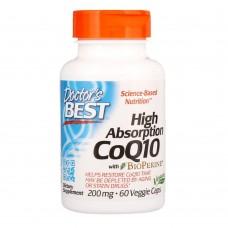 Коензим Q10, CoQ10 with BioPerine, Doctor's Best, биоперин, 200 мг, 60 рідких капсул