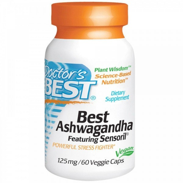 Ашвагандха, Ashwagandha, Doctor's Best, 125 мг, 60 капсул