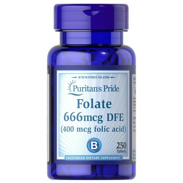 Фолієва кислота, Folic Acid, Puritan's Pride, 400 мкг, 250 таблеток