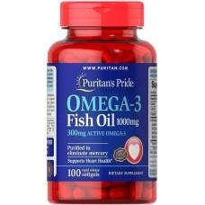 Омега-3 риб'ячий жир, Omega-3 Fish Oil, Puritan's Pride, 1000 мг, 300 мг активного, 100 капсул