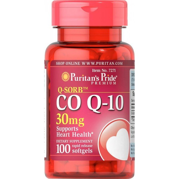 Коензим Q-10, Q-SORB Co Q-10, Puritan's Pride, 30 мг, 100 капсул