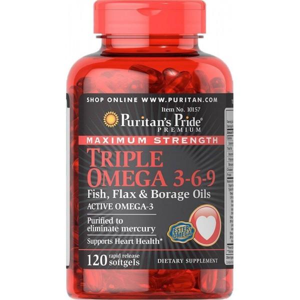 Омега 3-6-9, Omega 3-6-9 Fish, Puritan's Pride, олія льону і бораго, 120 капсул