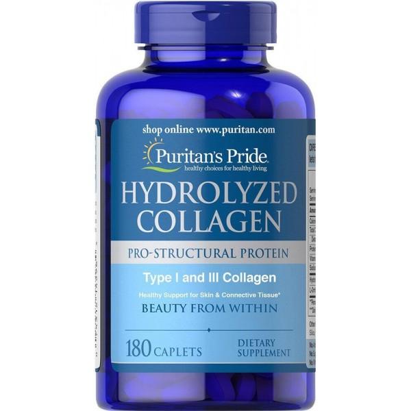 Колаген, Hydrolyzed Collagen, Puritan's Pride, гідролізований, 1000 мг, 180 таблеток