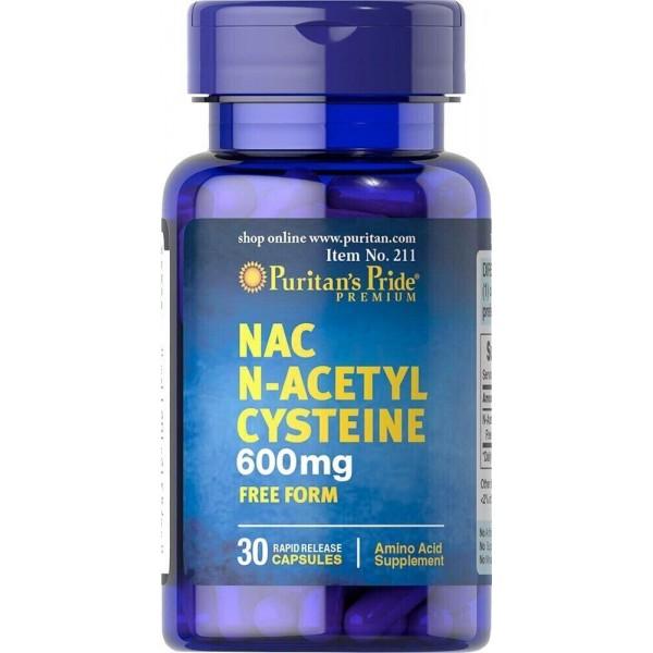 Ацетилцистеїн, N-Acetyl Cysteine (NAC), Puritan's Pride, 600 мг, 30 капсул