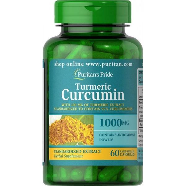 Куркумін і биоперин, Turmeric Curcumin with Bioperine, Puritan's Pride, 1000 мг, 60 капсул