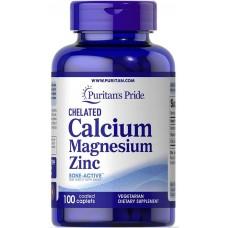 Кальцій-магній-цинк , Chelated Calcium Magnesium Zinз, Puritan's Pride, 100 капсул