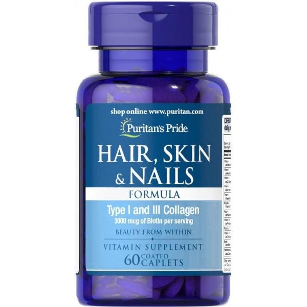Формула для волосся, шкіри, нігтів, Hair Skin Nails Formula, Puritan's Pride, 60 капсул