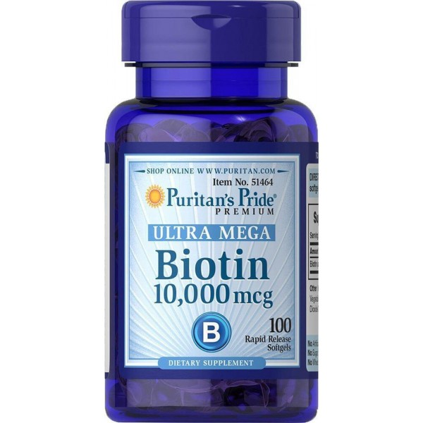 Біотин, Biotin, Puritan's Pride, 10.000 мкг, 100 капсул