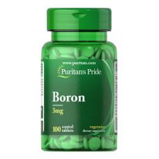 Бор, Boron, Puritan's Pride, 3 мг, 100 таблеток