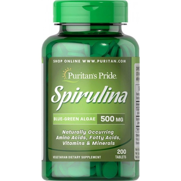 Спіруліна, Spirulina, Puritan's Pride, 500 мг, 200 таблеток